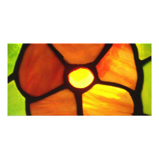 Orange yellow and green stained glass pansy photo greeting card