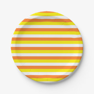 Orange, Yellow and White Stripes Paper Plate