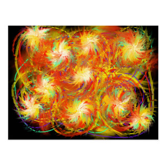 Orange Yellow Aqua Indie Abstract Art Design Postcard