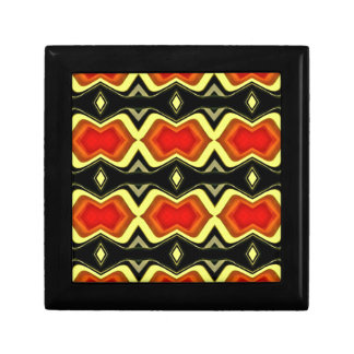Orange Yellow Black Fall Tribal Pattern Gift Box