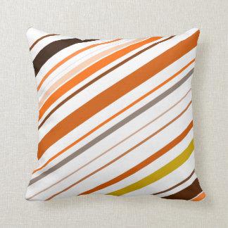 Orange, Yellow, Brown and White Diagonal Stripes Cushion