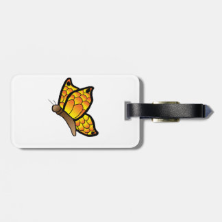 Orange/yellow butterfly luggage tag