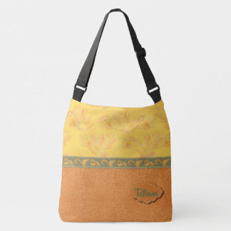 Orange/Yellow Custom Text Playful Squirrels Crossbody Bag