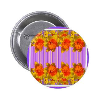 Orange-Yellow Daffodils Lilac Purple Pattern 6 Cm Round Badge