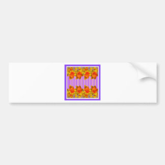 Orange-Yellow Daffodils Lilac Purple Pattern Bumper Sticker