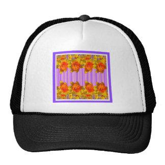 Orange-Yellow Daffodils Lilac Purple Pattern Cap