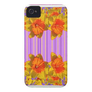 Orange-Yellow Daffodils Lilac Purple Pattern Case-Mate iPhone 4 Case