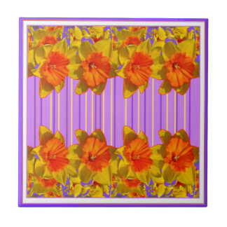 Orange-Yellow Daffodils Lilac Purple Pattern Ceramic Tile