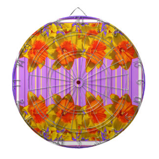 Orange-Yellow Daffodils Lilac Purple Pattern Dartboard