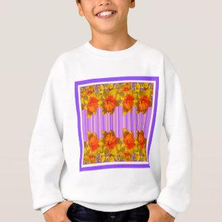 Orange-Yellow Daffodils Lilac Purple Pattern Sweatshirt