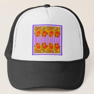Orange-Yellow Daffodils Lilac Purple Pattern Trucker Hat