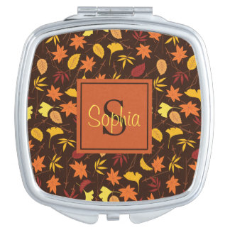 Orange Yellow Fall Leaves Monogram Compact Mirror
