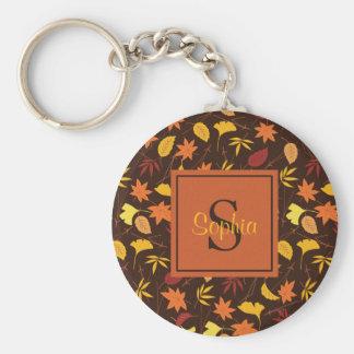 Orange Yellow Fall Leaves Monogram Keychain