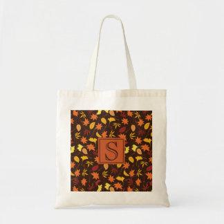 Orange Yellow Fall Leaves Monogram Tote Bag