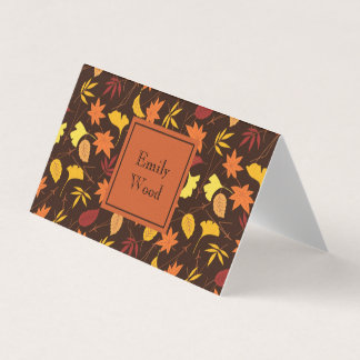 Orange Yellow Fall Leaves Personalized Table Card