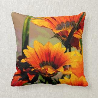 Orange Yellow Floral Throw Pillow