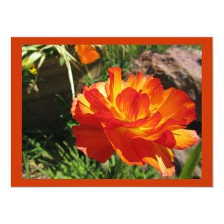 Orange Yellow Flower 17 Cm X 22 Cm Invitation Card