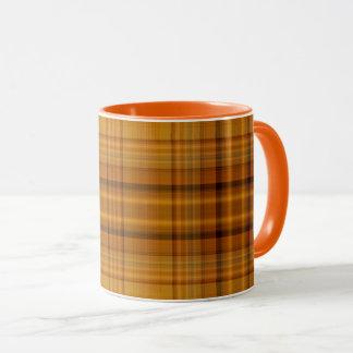 Orange Yellow Gold Brown Black Large Tartan Plaid Mug
