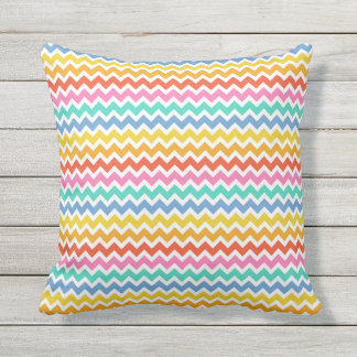 Orange Yellow Green Blue and White Chevrons Outdoor Cushion