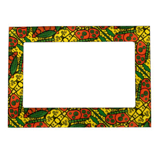 Orange Yellow Green Butterfly Pattern Magnetic Picture Frame