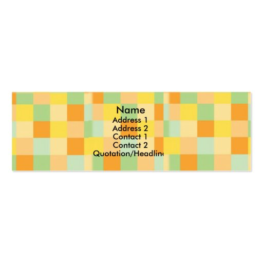 Orange/Yellow/Green Checks Profile Cards Business Cards