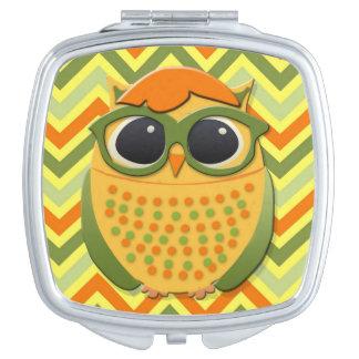 Orange Yellow Green Hipster Owl Compact Mirror