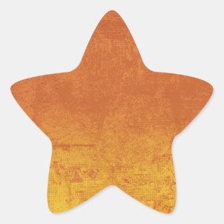 ORANGE YELLOW GRUNGE DISTRESSED BACKGROUND TEXTURE STAR STICKER