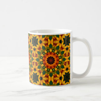 Orange Yellow Iris Nature 02, Flower-Mandala Coffee Mug