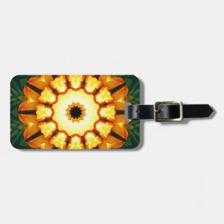 Orange Yellow Iris Nature, Flower-Mandala Bag Tag