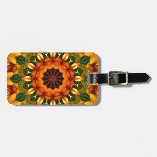 Orange Yellow Iris Nature, Flower-Mandala Luggage Tag
