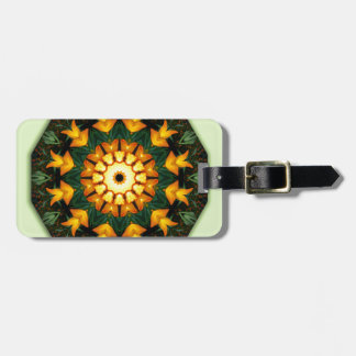 Orange Yellow Iris Nature, Flower-Mandala Luggage Tag