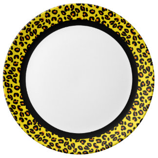 Orange & Yellow Leopard with Black Band on White Porcelain Plate