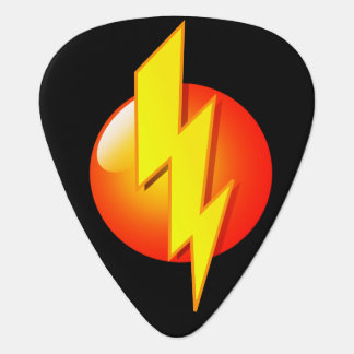 Orange Yellow Lightning Bolt Plectrum