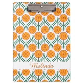 Orange Yellow Modern Floral Pattern-Custom Clipboard