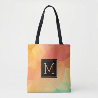 Orange & Yellow Modern Octagonal Geometric Pattern Tote Bag