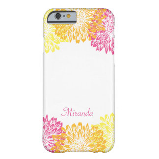 Orange, Yellow, Pink Monogram with Flowers Barely There iPhone 6 Case