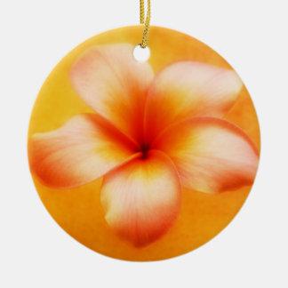 Orange Yellow Plumeria Flower Orange Background Ceramic Ornament