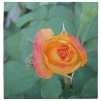 orange yellow rose flower napkin