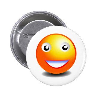 Orange & Yellow Smiley Face 6 Cm Round Badge