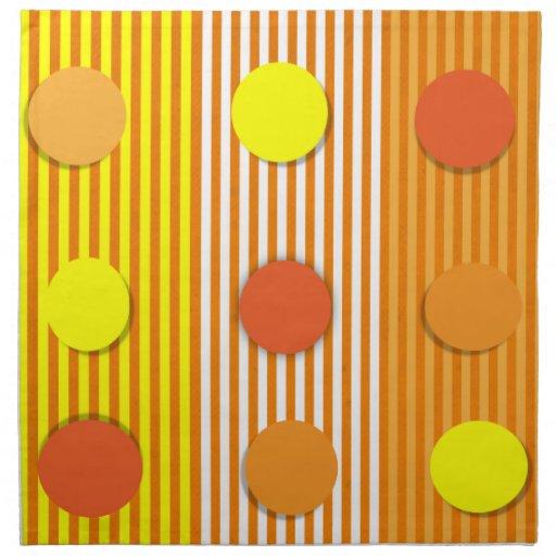 Orange & Yellow Stripes & Dots American MoJo Napki Printed Napkin