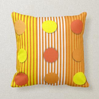 Orange & Yellow Stripes & Dots American MoJo Pillo Cushion