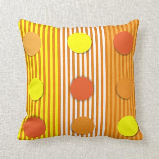 Orange & Yellow Stripes & Dots American MoJo Pillo Throw Pillows
