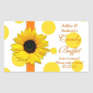 Orange Yellow Sunflower Polka Dots Candy Buffet Rectangular Sticker