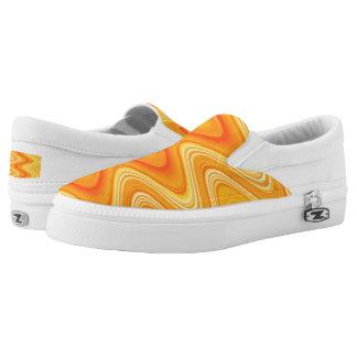 Orange Yellow Swirls Printed Shoes