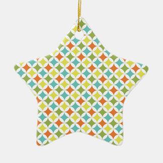 Orange, Yellow, Teal, and Green Diamond Pattern Ceramic Star Decoration