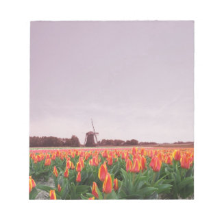 Orange Yellow Tulip Flower Field & Windmill Notepads