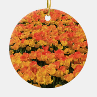 Orange yellow tulips by Thespringgarden Christmas Ornaments