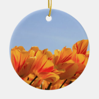 Orange yellow tulips by Thespringgarden Christmas Ornament