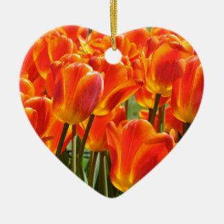 Orange & Yellow Tulips Ceramic Heart Decoration