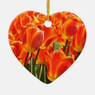 Orange & Yellow Tulips Ceramic Ornament